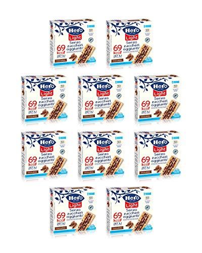 10 confezioni da 6 barrette X 20 gr,- 1200gr Hero Light barrette ai cereali e cioccolato