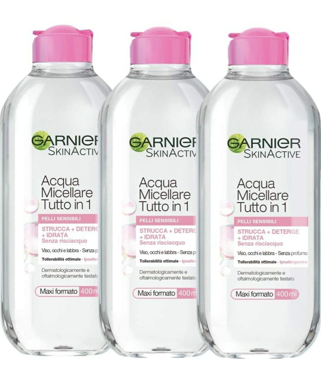 Garnier Kit Acqua Micellare Tutto in 1, Strucca, Deterge e Idrata Senza Risciaquo, 400 ml, Confezione da 3