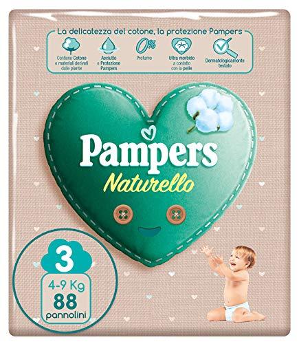 Pampers Naturello - Pannolini Contenenti Cotone e Materiali Naturali Derivanti dalle Piante, 0% Profumo,Pacco da 88, Taglia 3 (4-9 kg),