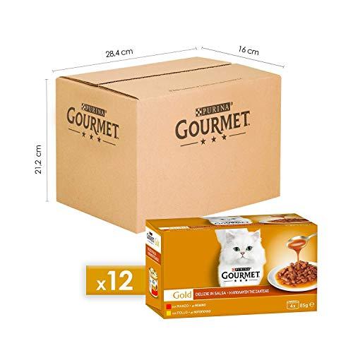 Purina Gourmet Gold Umido Gatto Delizie in Salsa Pollo, Manzo, 48 Lattine da 85 g Ciascuna, 12 Confezioni da 4 x 85 g
