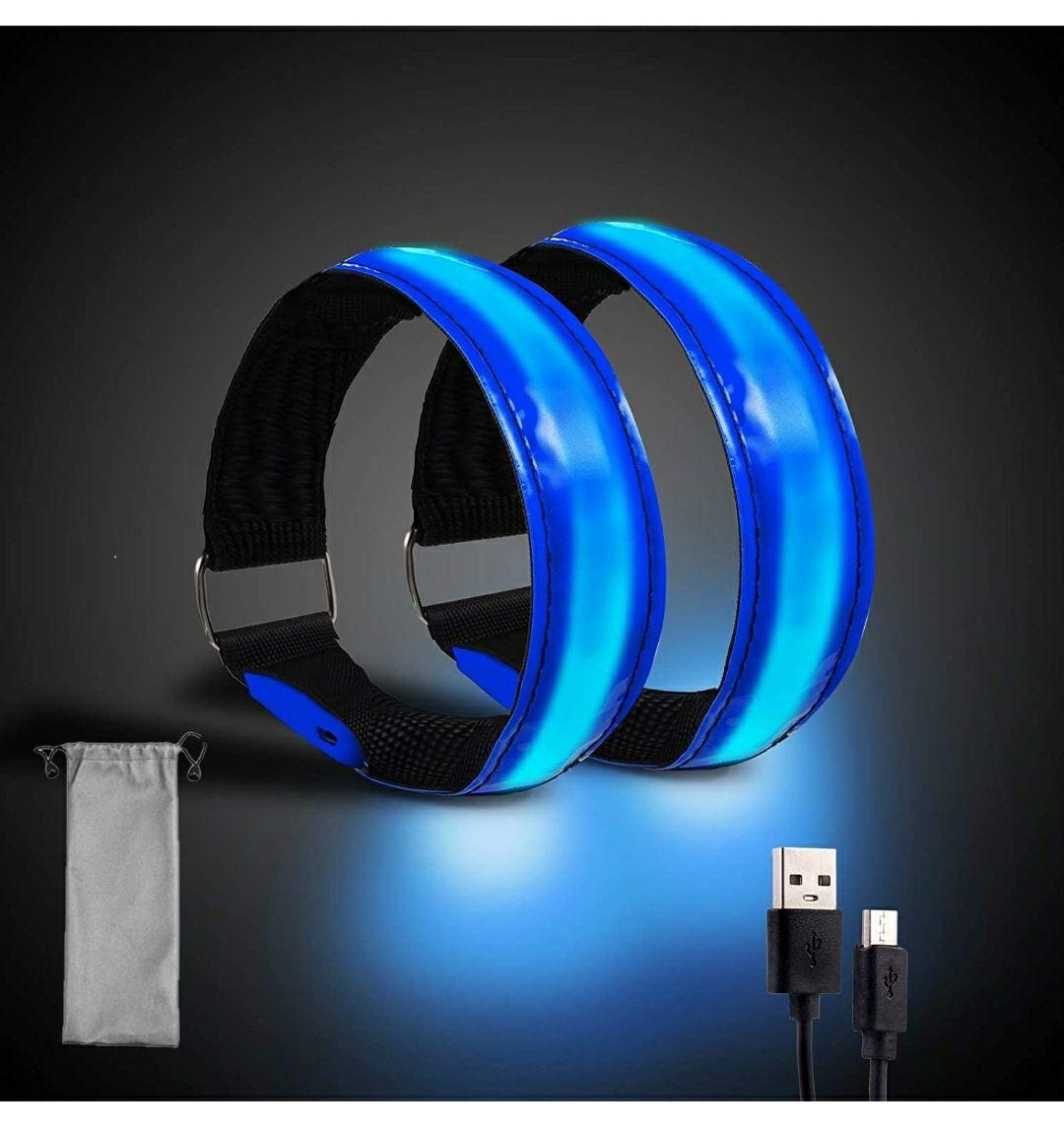 2 Pezzi Braccialetto Catarifrangente LED con USB