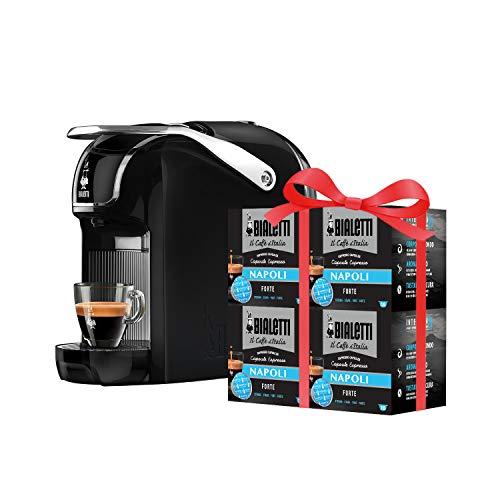 Bialetti New Break - Macchina Caffè Espresso a Capsule in Alluminio con Sistema Bialetti Nero, Include 64 Capsule In Omaggio