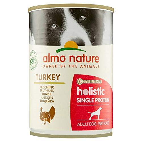 Pacco da 24 x 400 g almo nature Holistic Single Protein Ricetta Senza Cereali con Tacchino -Cibo Umido per Cani Adulti