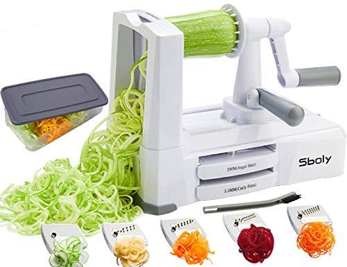 Sboly Spiralizer per verdure Affettatrice di verdure con 5 lame, Zucchine Spaghetti Maker Zoodle Maker Creatore di pasta vegetariano,