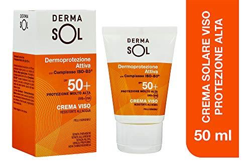 Dermasol Crema Solare Viso Protezione Molto Alta, SPF 50+ con Estratti di Fiori d'Arancio - 50 ml