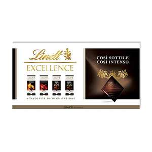 Lindt Assortimento di 4 Tavolette Excellence Cioccolato Fondente PESO TOTALE 400 g