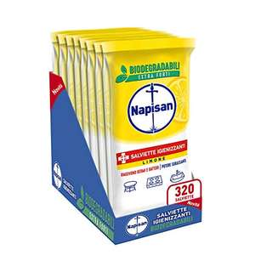 Napisan, 320 Salviette Igienizzanti, Multisuperfici, Biodegradabili, Potere Sgrassante, Limone, 8 Confezioni da 40 Salviette Igienizzanti