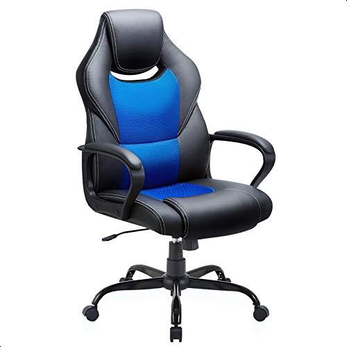 Sedia da Ufficio, Ergonomica Pelle PU Sedia da Scrivania Lavoro, Sedia da gioco Reclinabile con Schienale Alto, BLU O NERA