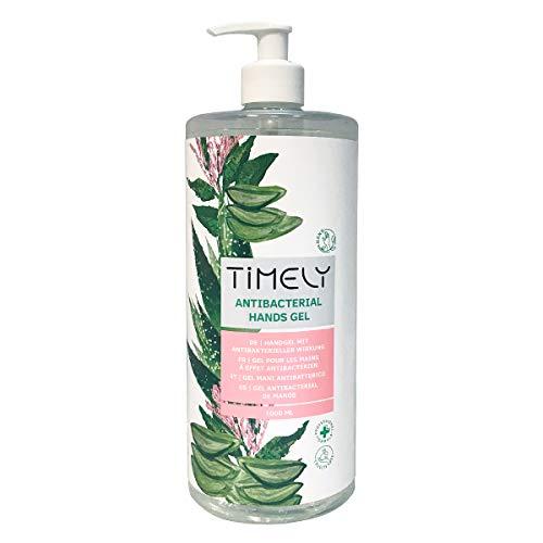 Timely, gel mani antibatterico con aloe, formato da viaggio, 1000 ml