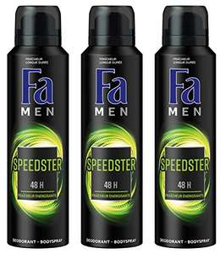 Fa Men, deodorante spray Speedster freschezza energizzante da 150 ml, set da 3