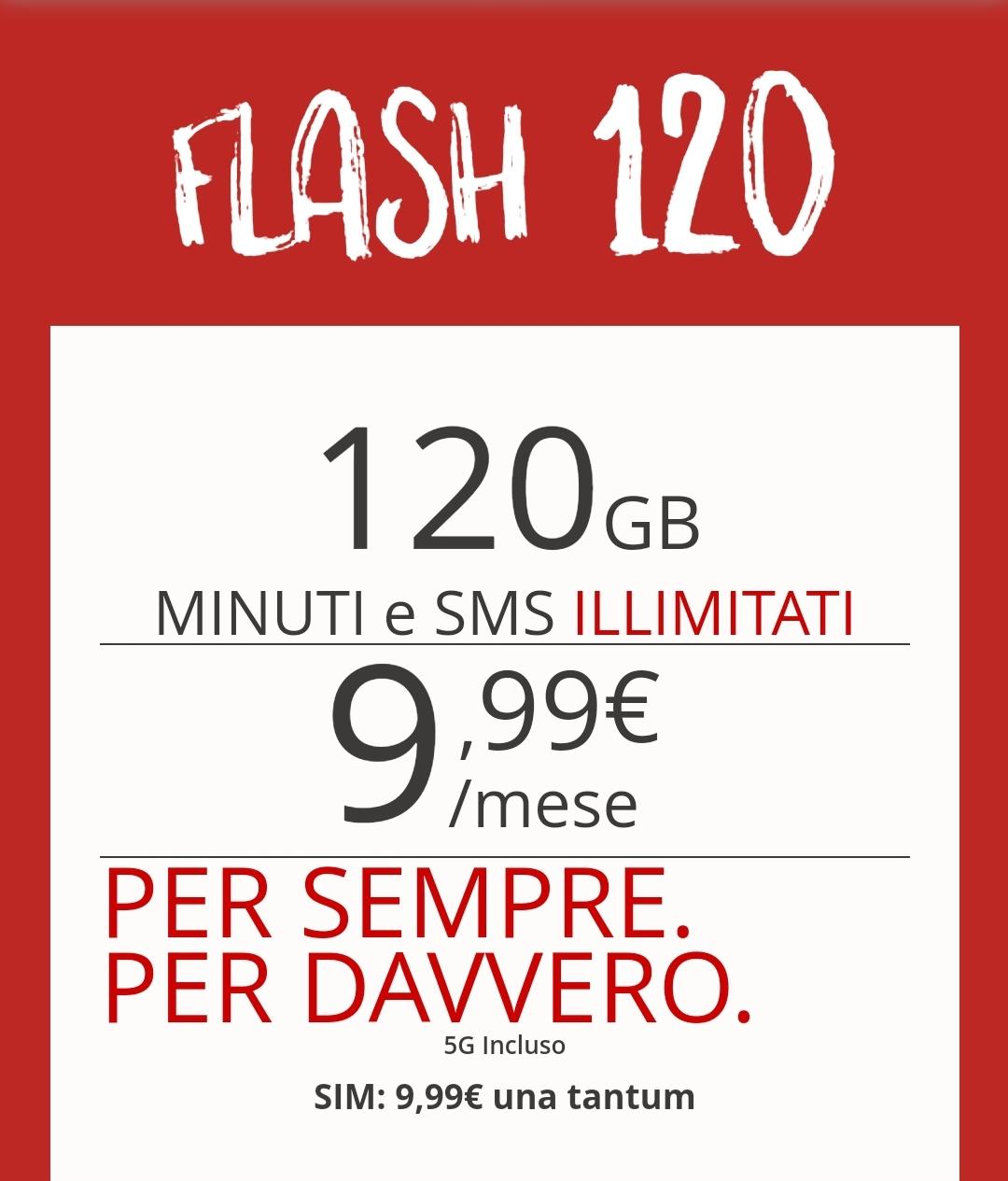 Iliad 120: 120GB in 5G MINUTI e SMSILLIMITATI a 9,99€/mese
