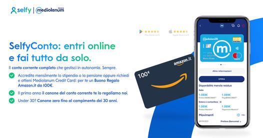Entra in SelfyConto per ricevere un buono da 100€ (a scelta tra Amazon, Q8, Zalando, ecc.)!