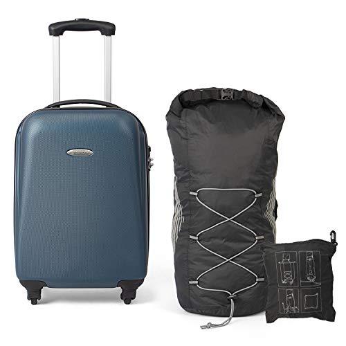 Mastergear Set Valigia e Zaino Bagaglio a Mano, 54 cm, 30 litri, Blu / Nero