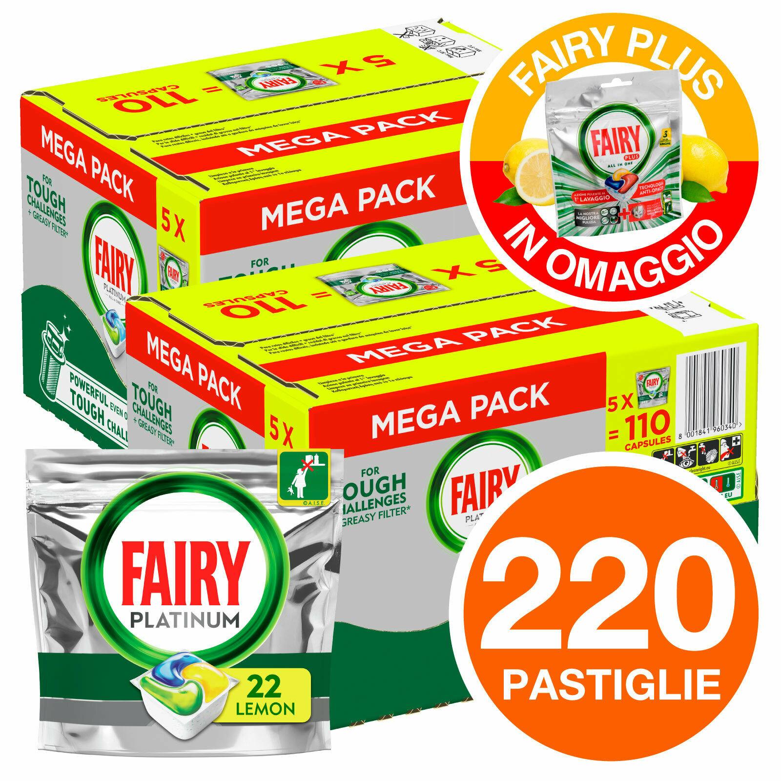 220 Pastiglie Fairy Platinum Tutto in Uno Regular Detersivo per Lavastoviglie