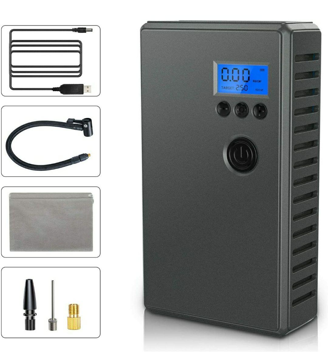 Compressore Portatile per Auto Compressore Aria con LCD Display e Batteria Ricaricabile 2000mAh