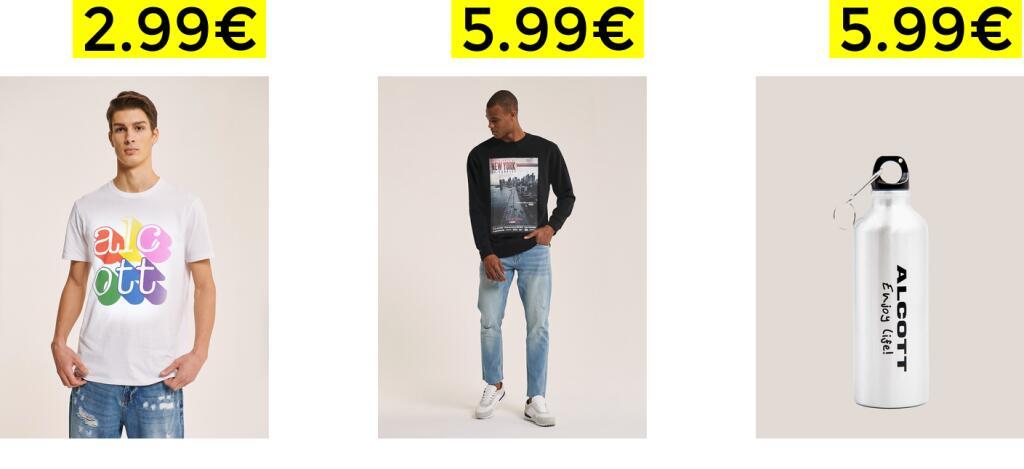 Super Promo Alcott T-Shirt 2.99€ - Felpe 5.99€ - Borraccia 5.99€