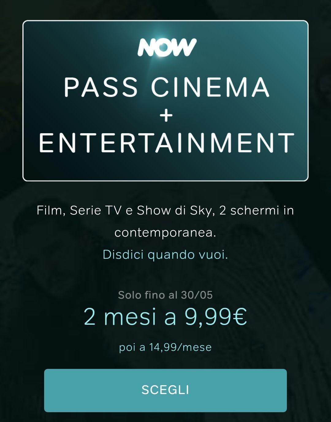 Now TV 2 mesi cinema+ Entertainment