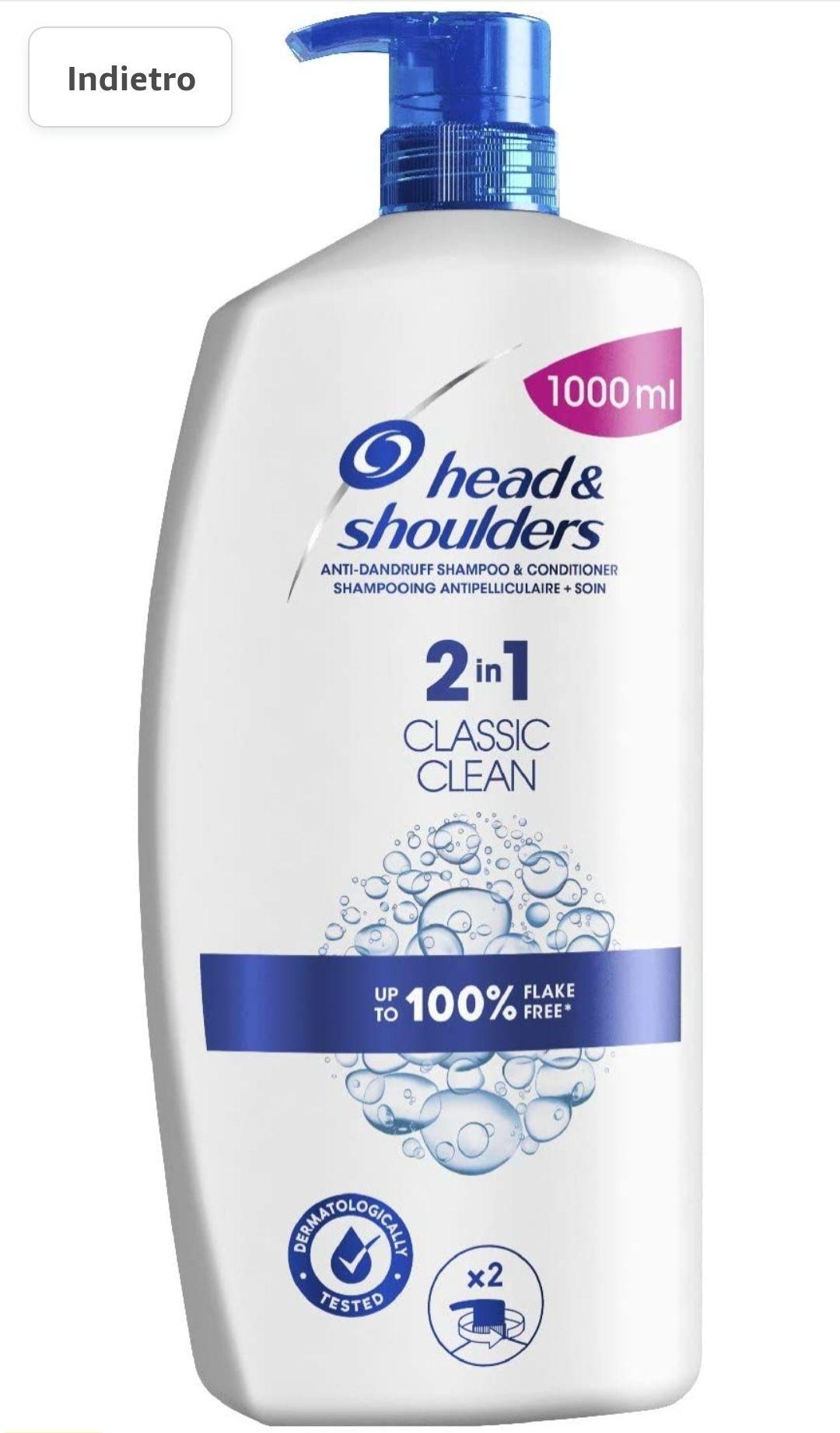 Head & Shoulders Classic Clean 2in1 Antiforfora Shampoo E Balsamo Per Capelli, 1000 ml