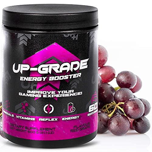 UP-GRADE - Energy Drink Pulver - Caffeina in Polvere per Una Maggiore Concentrazione Negli E-Sport - 600 g 60 Porzioni (Red Grape)