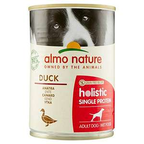 - Pacco da 24 x 400 g - almo nature Holistic Single Protein Ricetta Senza Cereali all' Anatra -Cibo Umido per Cani Adulti