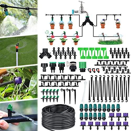 Kit per Sistema Automatico di Irrigazione a Goccia Jeteven (30m), ideale per Giardini e Serre