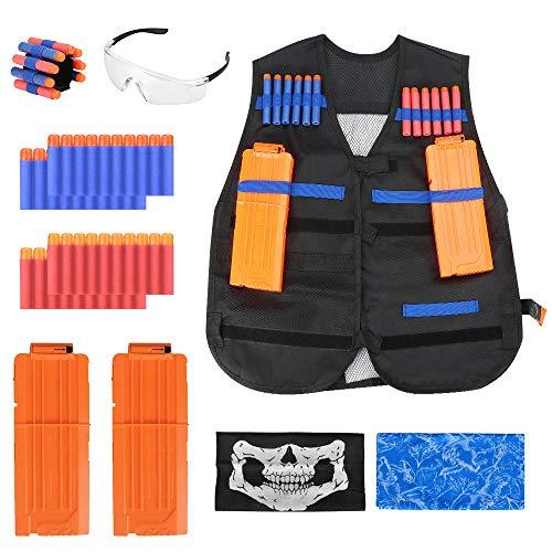 Kit Gilet tattico per Bambini per Pistola Nerf Serie N-Strike Elite con proiettili per Freccette 40 Pezzi, Occhiali,
