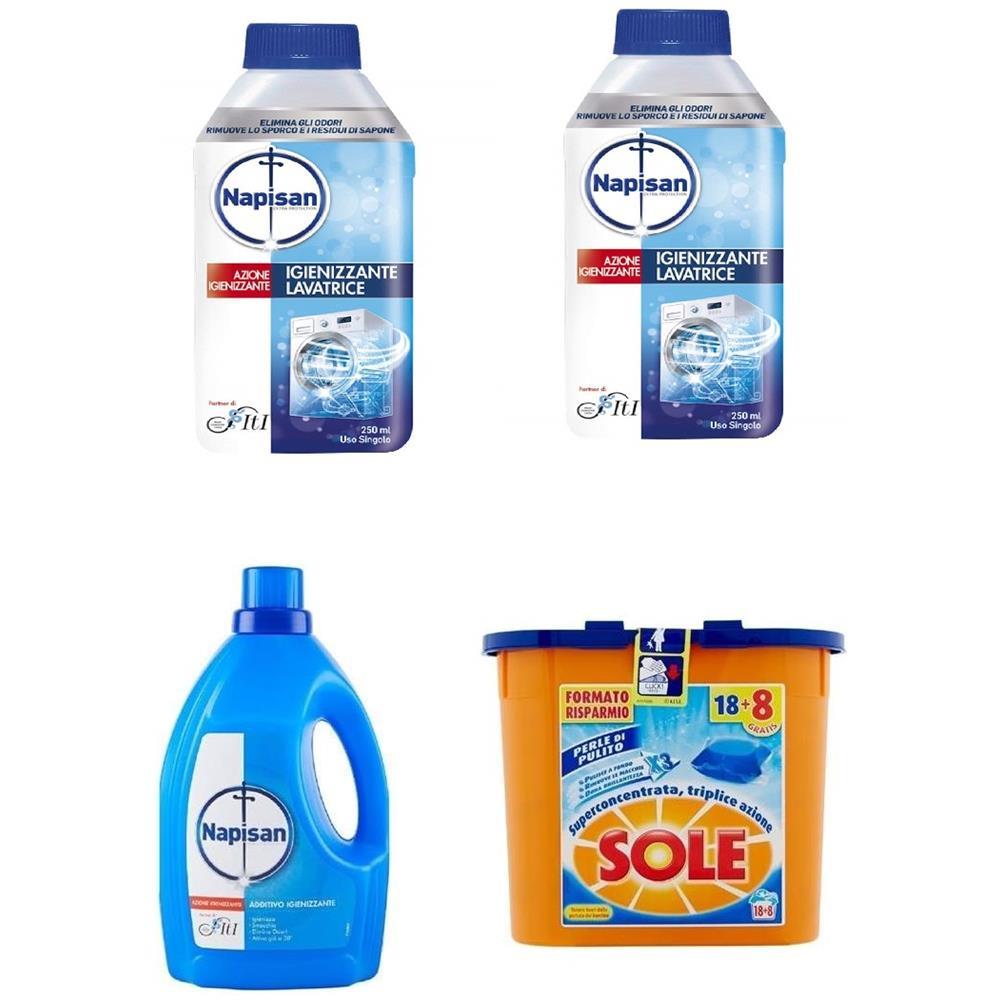 NAPISAN Kit Convenienza Additivo Disinfettante Bucato + 2 x Igienizzante Lavatrice + Capsule Perle di Pulito