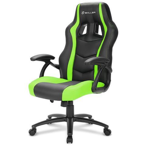 SHARKOON Sedia Gaming Skiller SGS1 in Pelle Sintetica Colore Nero e Verde