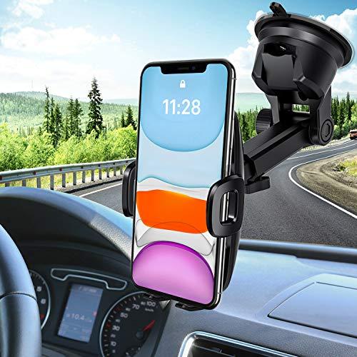 Porta Cellulare da Auto, Supporto Auto Smartphone con Ventosa per Cruscotto Parabrezza per Telefono