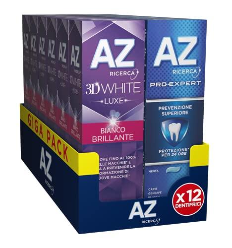AZ Dentifrici 3DWhite Luxe Bianco Brillante e Pro-Expert 12 Confezioni