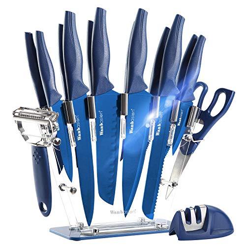 16 Pezzi Blu Set di Coltelli da Cucina con Ceppo Universale