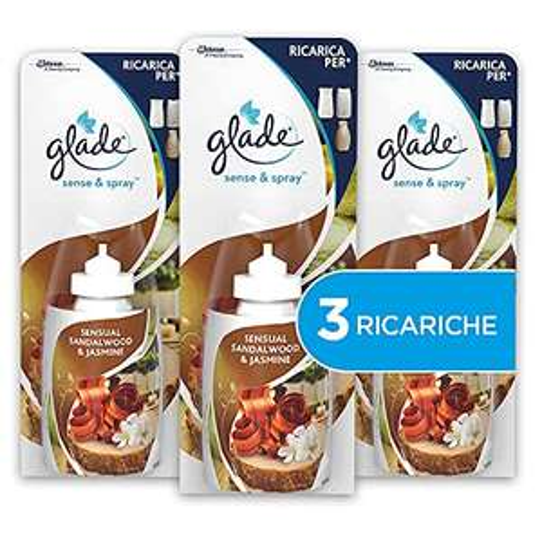 Glade Sense&Spray, Profumatori per Ambienti, Fragranza Sensual Sandalwood e Jasmine, 3 Ricariche, 18 ml