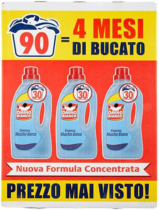 Omino Bianco - Detersivo Lavatrice Liquido, Fresco Profumo con Essenza di Muschio Bianco, 90 Lavaggi, 1500 ml x 3 Confezioni
