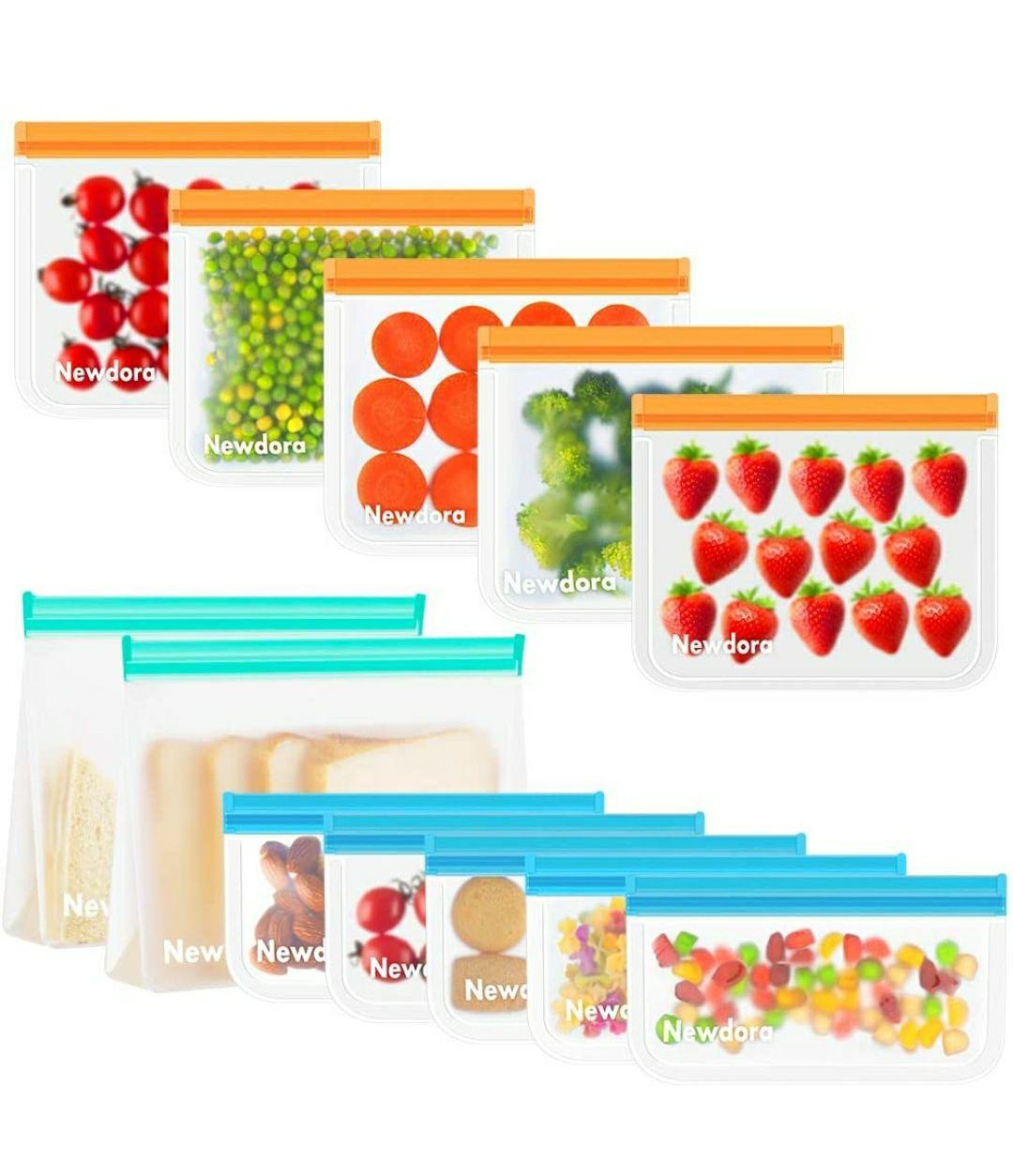 12 X Sacchetti per Alimenti Riutilizzabili