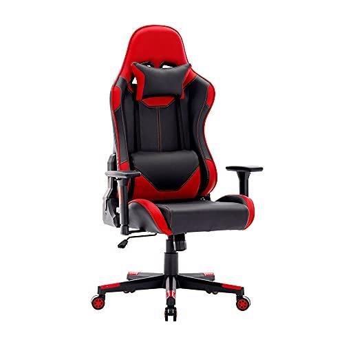Sedia Gaming da Scrivania Pelle con Schienale Alto, Poltrona Ufficio Ergonomica, Sedia per Computer con Poggiatesta e Supporto Lombare