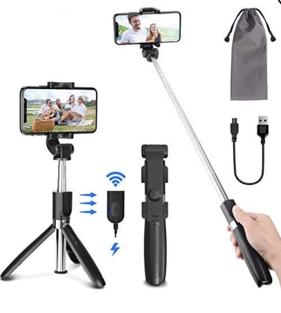 Treppiede Bluetooth Selfie stick con telecomando Bluetooth ricaricabile