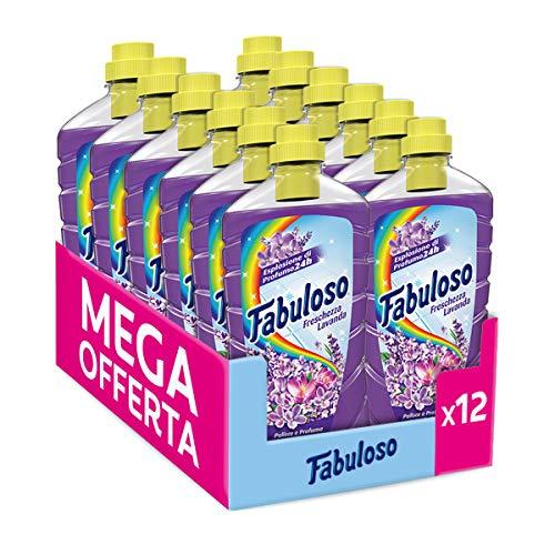 Fabuloso Detersivo Pavimenti Multiuso, fino a 24h di Profumo, Detergente Liquido, 12 x 1 Litro