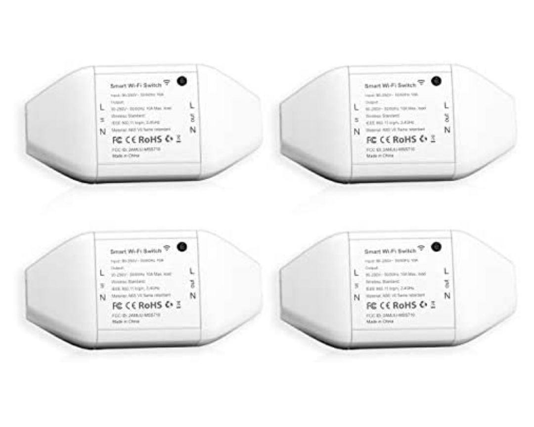 Interruttore Smart Switch Wifi Relé Wireless, Funzione Timer, APP Controllo Remoto, 4 Pezzi meross