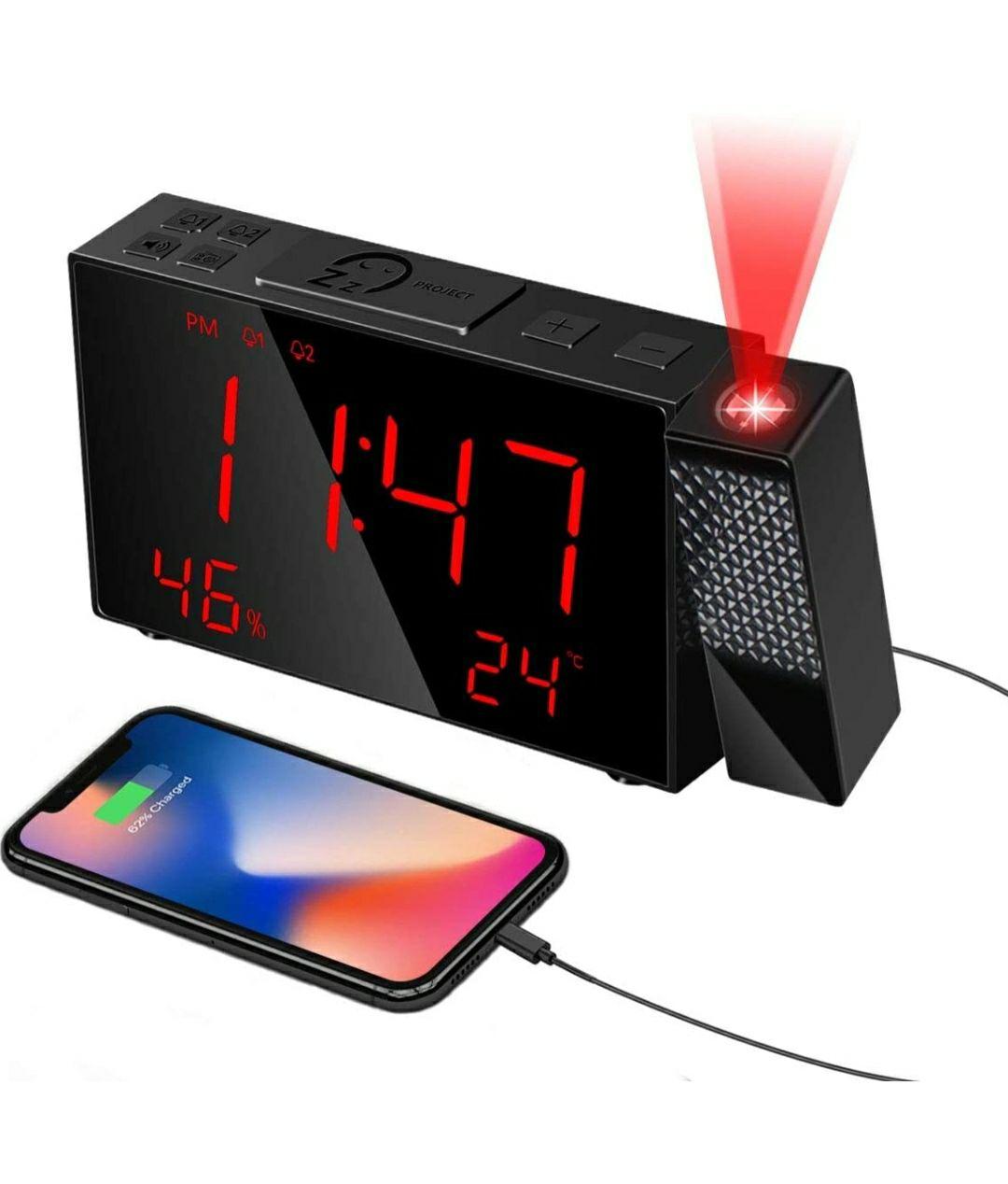 HOMVILLA Sveglia Digitale con proiezione, caricatore USB e Radio FM