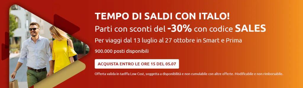 ITALO. ACQUISTA UN BIGLIETTO entro le ore 15 del 5 luglio e risparmia il 30%