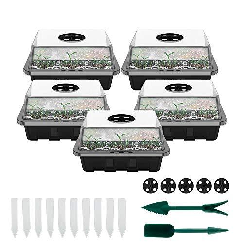 5Pezzi/12Fori Kit di Propagazione dei Semi, Vassoi per Piante con Cupole Ventilate, con 10 Etichette per Piante e 2 Strumenti