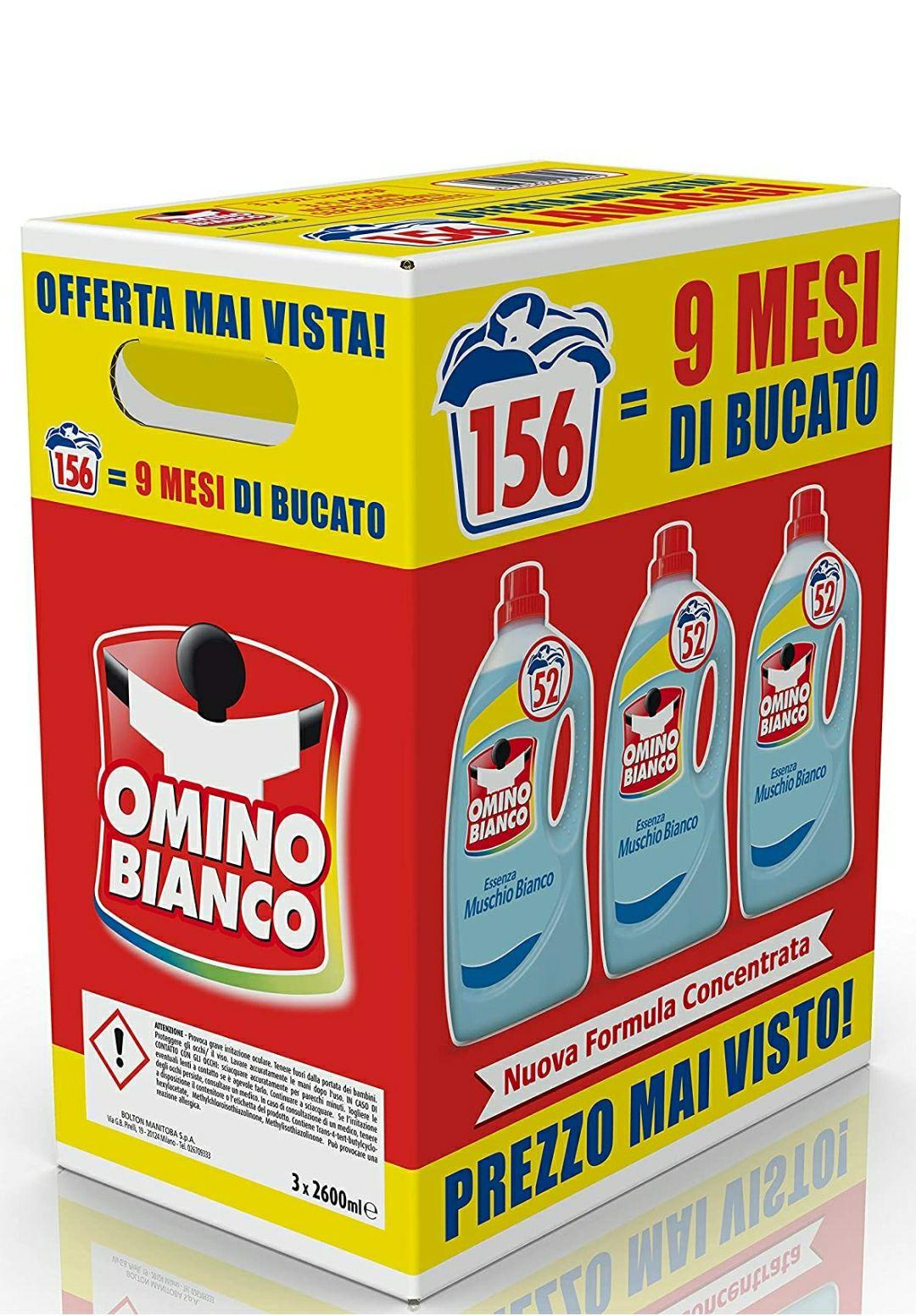Omino Bianco Detersivo Lavatrice Liquido, Fresco Profumo con Essenza di Muschio Bianco, 156 Lavaggi, 2600 ml x 3 Confezioni