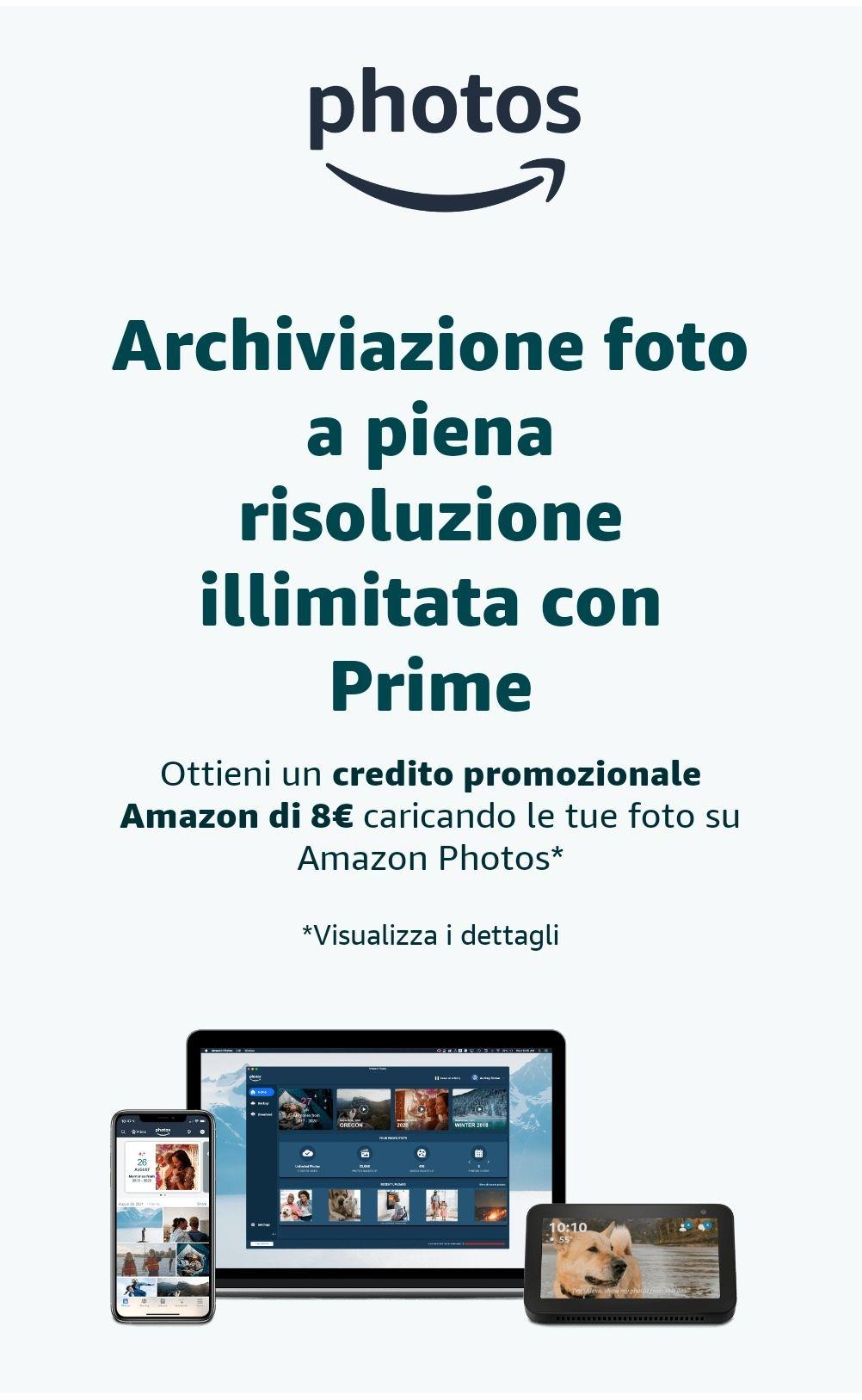 Ottieni un credito promozionale Amazon di 8€ caricando le tue foto su Amazon Photos