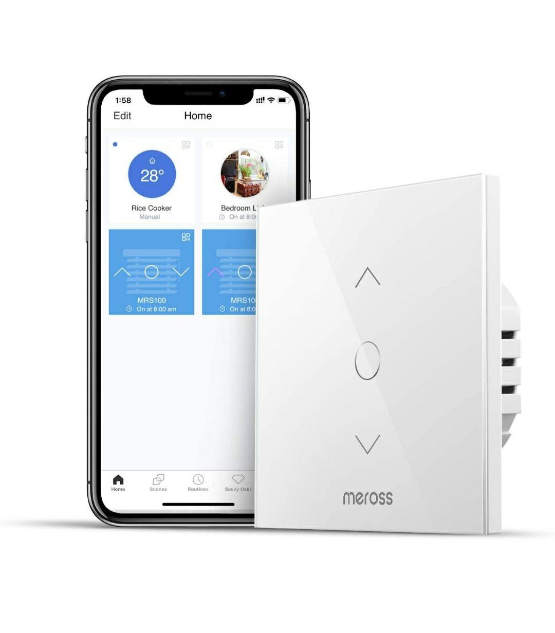 Interruttore WiFi Meross per Tenda, Switch Tattile Controllo APP, Compatibile con Alexa e Google home