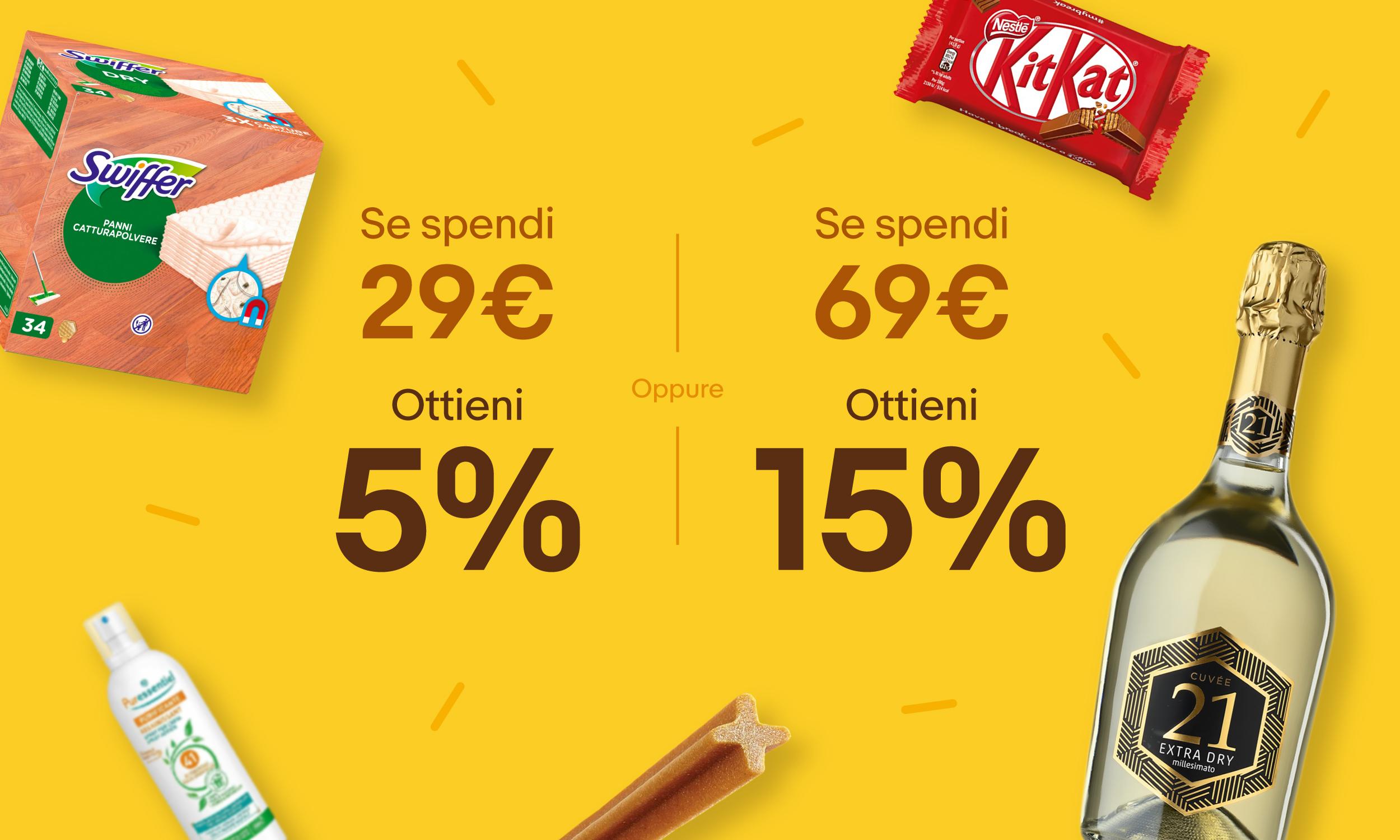 Compra di più Spendi di meno - Prodotti Supermercato Ebay - 5% o - 15%