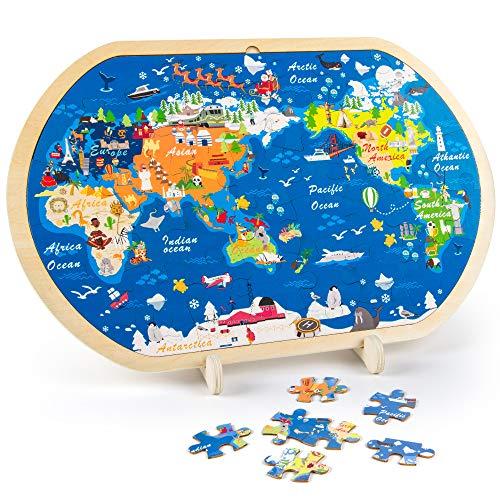 VATOS Puzzle in Legno per Bambini, Mappa del Mondo