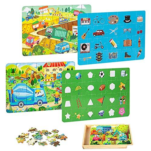 Puzzle in Legno da 4 Pezzi per Bambini di età Compresa dai 3 ann educativo per l'apprendimento prescolare con Scatola di Legno 112PCS