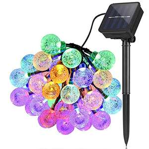 Catene luminose per esterni, Luci a stringa solari Giardino 6,5m 30 LED Impermeabile Luci fatate Globo Palla Cristallo