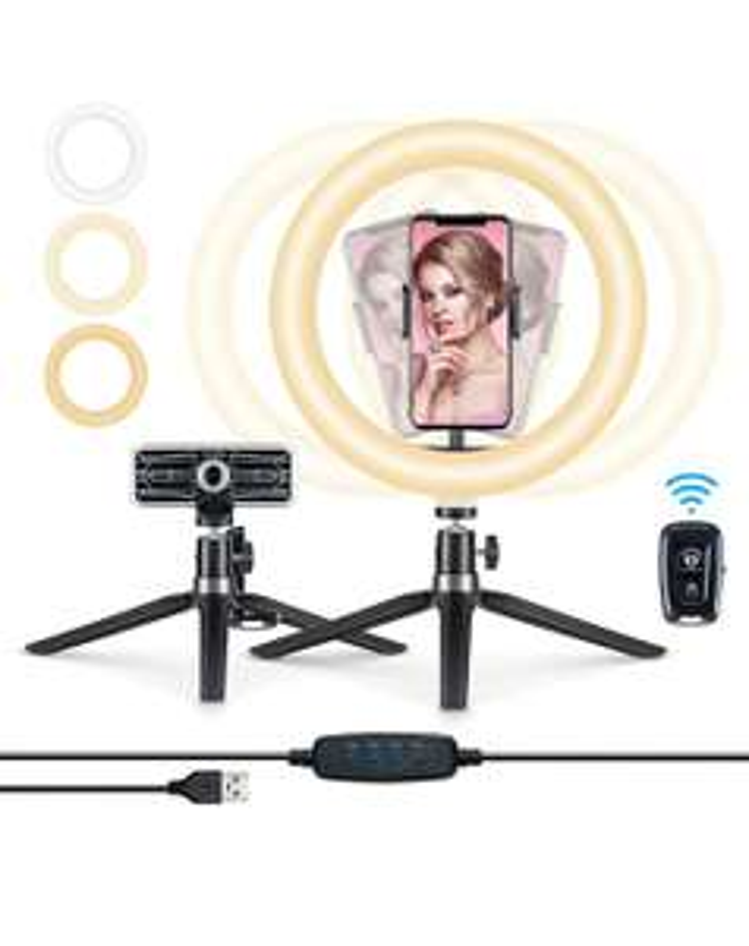 10,2'' Luce per Selfie Ring Light con Treppiedi e Supporto per Telefono