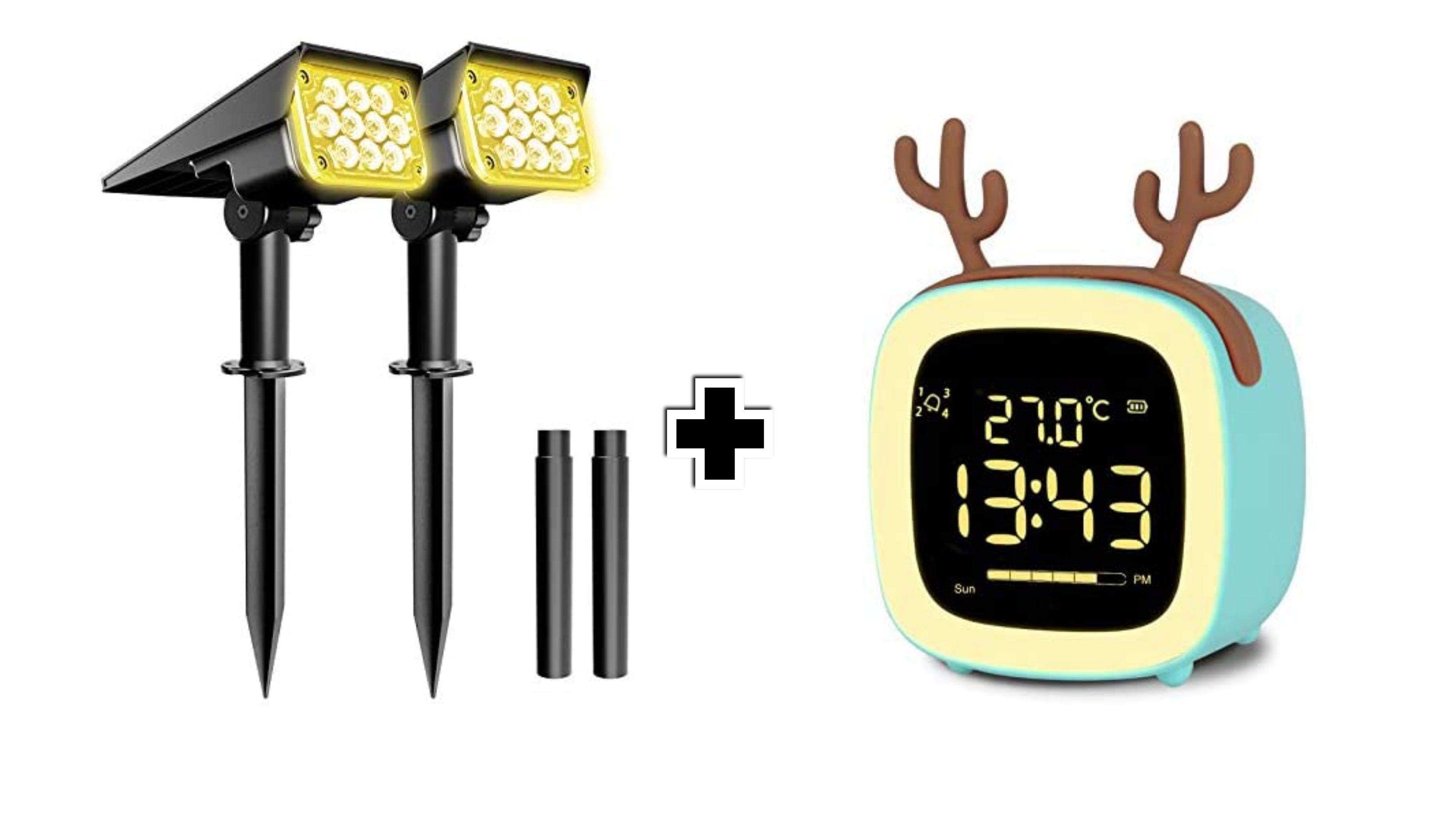 2x Faretti Solari da Esterno a 20 LED+ Sveglia digitale